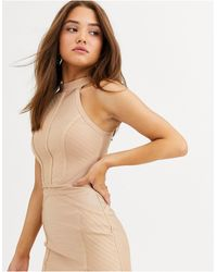 Lipsy Bandage Knitted Top Co Ord - Natural
