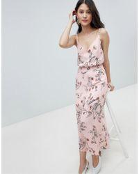 Oh My Love Vestido largo estilo camisola con botones y estampado de flores - Rosa
