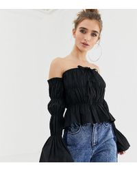 8ec4bcdca1dc6 Collusion - Petite Ruched Tie Front Off The Shoulder Top - Lyst