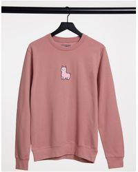 New Love Club Sweat-shirt oversize imprimé lama - clair - Rose