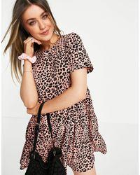 Lola May Ярусное Платье Мини С Присборенной Юбкой И Леопардовым Принтом -многоцветный