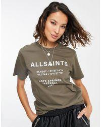 AllSaints T-shirt marrone con logo