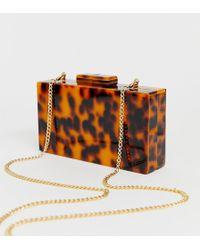 True Decadence Tortoiseshell Structured Box Clutch Bag - Brown