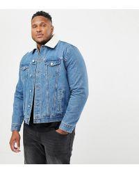 b5ec0b168 River Island Fleece Lined Denim Jacket In Mid Wash in Blue for Men ...