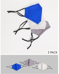 ASOS 3 Pack Face Coverings With Adjustable Straps And Nose Clip - Multicolour
