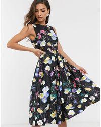 Little Mistress Floral Print Skater Dress - Blue