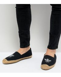 Frank Wright Wide Fit Embroided Espadrilles In Navy - Blue
