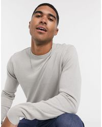 Brave Soul 100% Cotton Crew Neck Knitted Jumper - Grey
