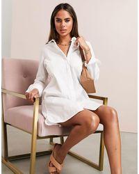 ASOS ASOS LUXE - Robe chemise courte en coton - Blanc