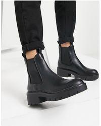 Pull&Bear Черные Ботинки Челси На Массивной Подошве -черный Цвет