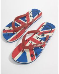 Jack & Jones - Union Jack Flip Flops - Lyst