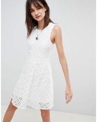 c05b96f1f5e4 Lyst - Vero Moda Lace Maxi Dress With Dip Hem in White
