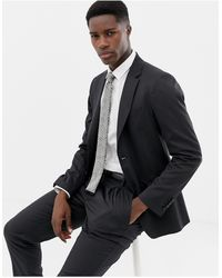 Benetton Slim Fit Suit Jacket - Grey