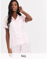 Missguided Dogstooth Pyjama Top - Pink