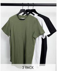 Jack & Jones Originals 3 Pack Longline Curved Hem T-shirt - Green