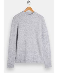 TOPMAN Fluffy Turtle Neck Knitted Jumper - Grey