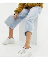 Superga - 2297 Exclusive White Chunky Trainers With Stripe Webbing - Lyst