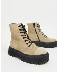 Vero Moda Leather Chunky Sole Lace Up Boots - Multicolour