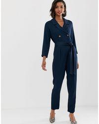 Y.A.S Soft Tailored Tie Waist Jumpsuit-black - Blue