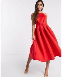 True Violet - Красное Платье Миди Для Выпускного С Открытой Спиной -красный - Lyst