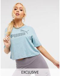 PUMA Logo Cropped T-shirt - Blue