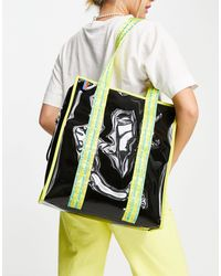 House of Holland Black Transparent Tote Bag With Contrast Logo Straps