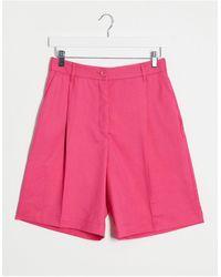Monki Cookie Satin Tailored City Shorts - Pink