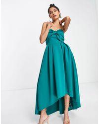 True Violet Vestido midi verde esmeralda con diseño asimétrico y lazo extragrande
