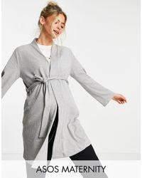 ASOS Серое Меланжевое Платье Мини Из Вафельного Трикотажа - Серый