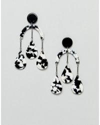ASOS - Earrings In Abstract Drop Design With Resin Shapes In Gold - Lyst