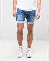 Pepe Jeans - Pepe Cane Slim Fit Denim Short Blue Wash - Lyst