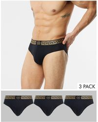 River Island 3 Pack Briefs With Baroque Waistband - Black