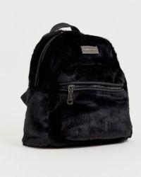 Claudia Canova Faux Fur Black Backpack