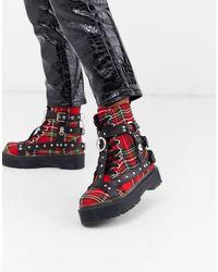 YRU Y-r-u - Checked Boots With Studs - Multicolour