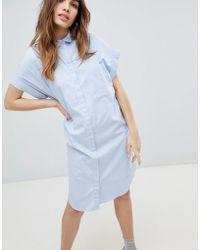 Monki - Short Sleeve Chambray Smock Dress - Lyst