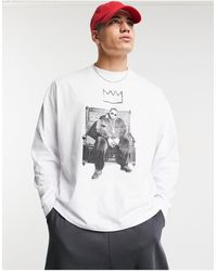 ASOS Biggie Oversized Long Sleeve T-shirt With Front Print - White