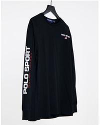 Polo Ralph Lauren Sport - Exclusivité ASOS - T-shirt à manches longues avec logo sur la manche - Noir