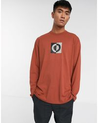 TOPMAN Ltd Long Sleeve T-shirt With Circle Print - Orange
