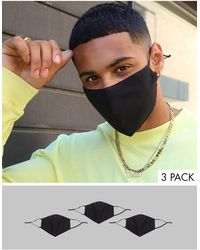 ASOS 3 Pack Face Coverings With Adjustable Straps And Nose Clip - Black