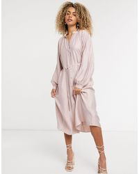 & Other Stories - Бледно-розовое Платье Миди -розовый Цвет - Lyst