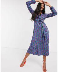 FABIENNE CHAPOT Isabel Lou Floral Midi Dress - Blue