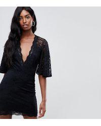ASOS - Cape Plunge Lace Mini Dress - Lyst