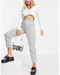 TOPSHOP Seamed Casual Peg Trousers - Blue