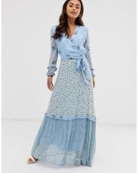 Ghost Avery Georgette Mix And Match Print Floral Maxi Dress - Blue