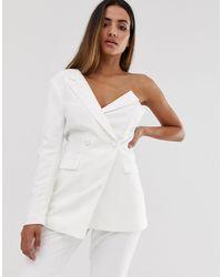 Lavish Alice One Shoulder Bodice Blazer - White