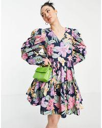 Y.A.S - Ярусное Платье Мини Из Органического Хлопка С Пышными Рукавами, Присборенной Юбкой И Ярким Цветочным Принтом -многоцветный - Lyst