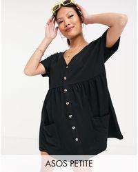 ASOS Vestido corto negro amplio con botones