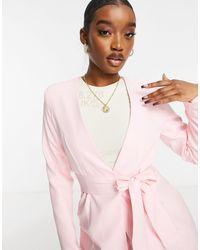 Club L London Классический Розовый Пиджак С Поясом И Запахом