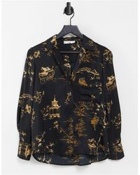 Mango Relaxed Fit Printed Shirt - Black