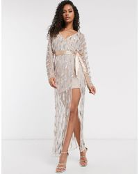 Frock and Frill Club Sheer Emebllished Maxi Dress With Bodysuit - Multicolour